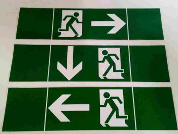 3 Aufkleber für Fluchtwege